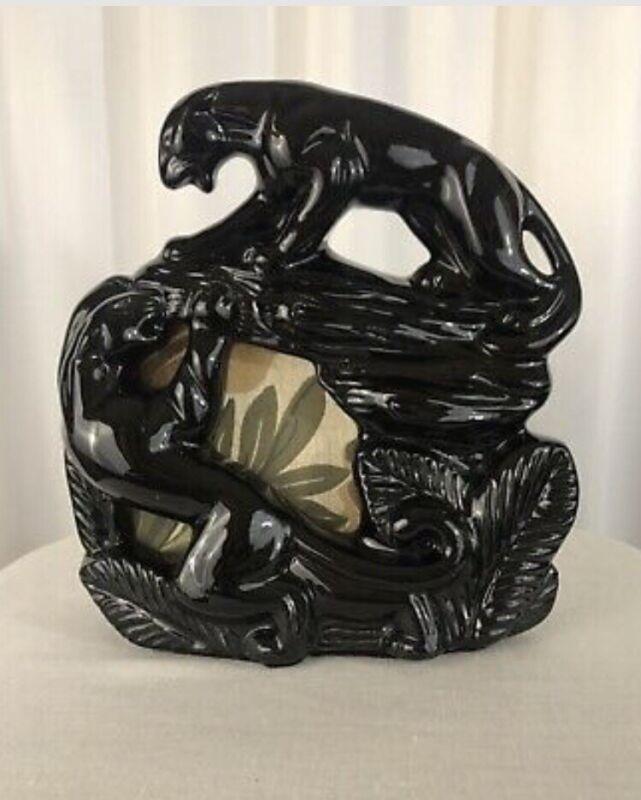 Vintage ceramic MCM black panthers TV lamp mid century modern