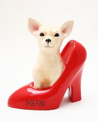 CHIHUAHUA IN HIGH HEEL CERAMIC SAVING MONEY BANK FOR SHOES MONEY FUND CUTE GIFT