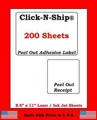 200 Laser Ink Jet Labels Click-n-ship With Peel Off Receipt -perfect For Usps