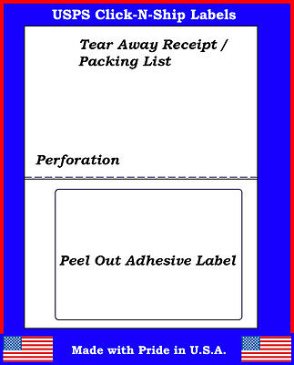 25 Laser Ink Jet Labels Click-n-ship With Tear Off Receipt -perfect For Usps