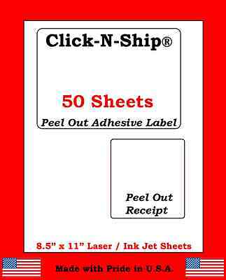 50 Laser Ink Jet Labels Click-n-ship With Peel Off Receipt -perfect For Usps