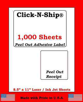 1000 Laser Ink Jet Labels Click-n-ship With Peel Off Receipt -perfect For Usps