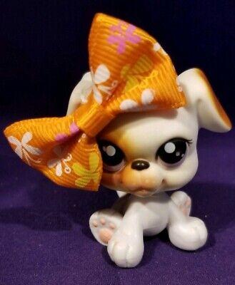 Littlest Pet Shop #84 Baby Boxer Dog White Brown Pink Purple Dot Eyes Red Magnet for sale  Inola