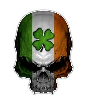 Irish Skull Decal - Ireland Flag Clover Sticker Lucky Graphic