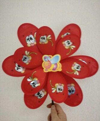 Windrad Windspiel Gartenstecker Biene rot für Garten   -4-1