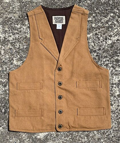 NEW FRONTIER CLASSICS OLD WORK WEST COWBOY CLOTHING OUTLAW VEST- Tan BROWN