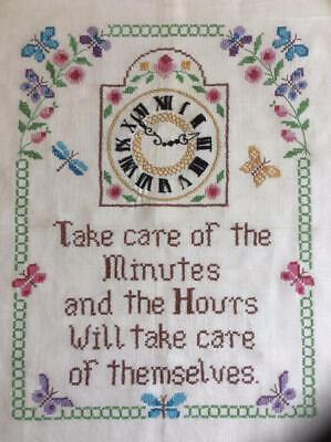 ~Enchanting Vintage 'Take Care of the Minutes' Sampler~
