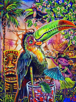 Toucan Lounge Bar Birds Tiki Hula Hawaiian Kitsch CBjork PRINT