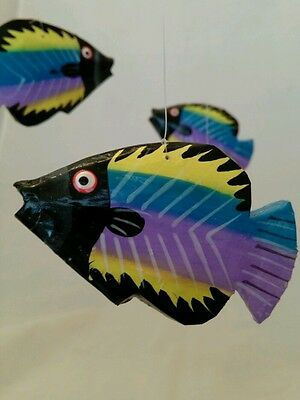 Folk Art Wooden Fish Mobile Handmade in - Fish Mobile