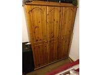 Extra wide wooden wardrobe. 2 doors for hanging, 1 for shelves. 129cm W x 176cm H x 53cm D