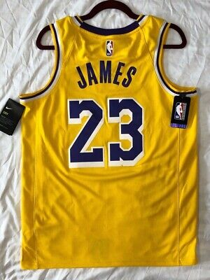 NIKE LEBRON JAMES LOS ANGELES LAKERS SIZE 52 XL GOLD NBA 100% OFFICIAL JERSEY
