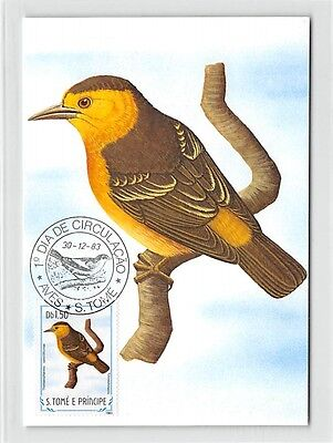 S.TOME MK 1983 VÖGEL SAO-TOME-WEBER BIRDS CARTE MAXIMUM CARD MC CM /m284