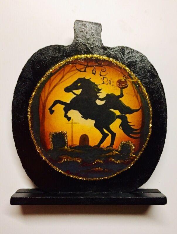 """Sleepy Hollow-Headless Horseman Handmade Halloween Ornament Decor """"ICE SPARKLE"""""""