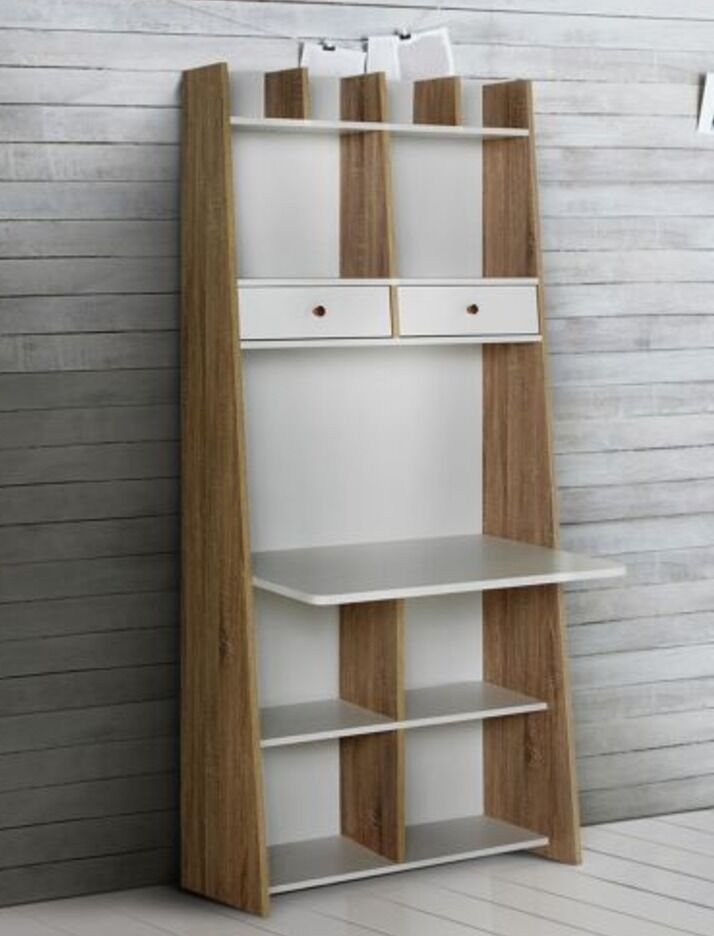 Tall Storage Desk Unit White And Oak Effect With Cubes Baskets Great