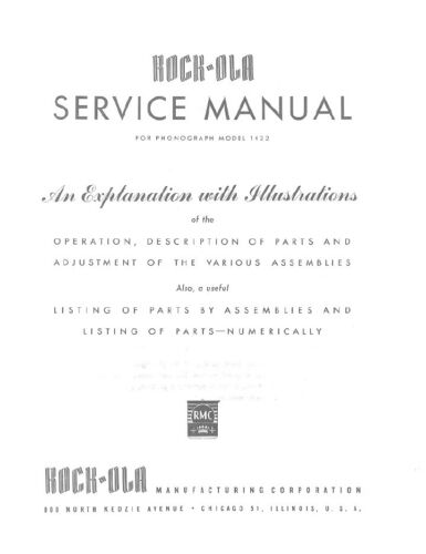 ROCK-OLA MODEL 1422,1424,1426,1428 SERVICE MANUAL .PDF FILE (33 PAGES)