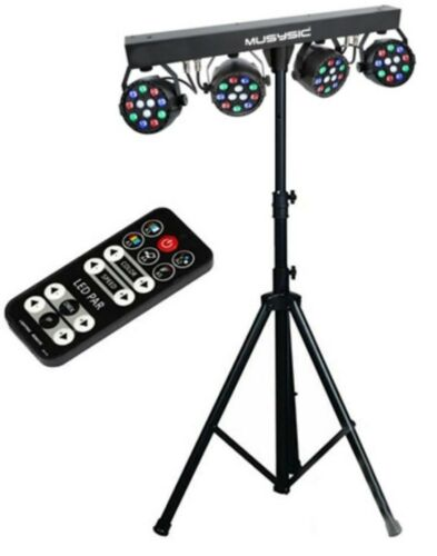 Complete Professional 4-Par Stage LED Lights DJ Band DMX System & Stand MU-L31A