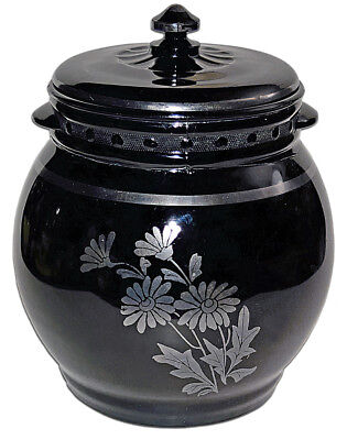 L. E. Smith Black / Ebony Unlisted Cookie Jar with Two Daisies Silver Decoration