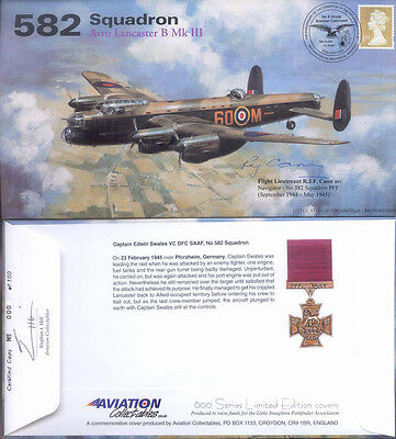 AV600 582a WWII WW2 582 Squadron PFF Avro Lancaster cover signed CANN DFC