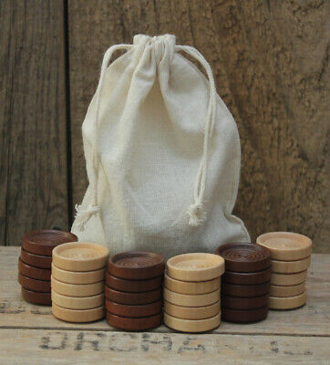 30 Wood Backgammon Checker pieces (Dark Brown/Natural) + Cotton Drawstring Bag