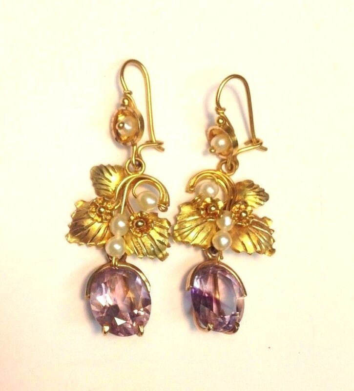 Estate Antique Amethyst Drop Earrings with Flowers and Pearls 10K 14K Gold
