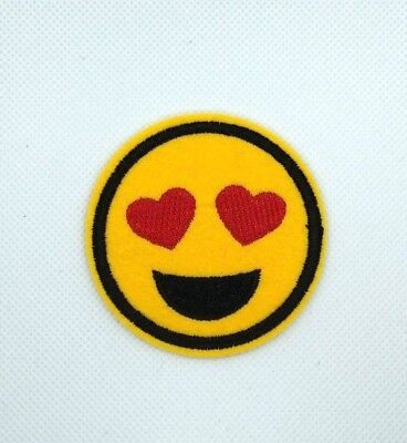 large Heart Eyes Smiley Face Emoji  Iron on Applique/Embroidered Patch 134