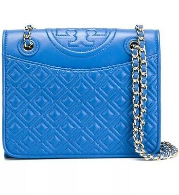 TORY BURCH FLEMING MEDIUM BAG MALIBU BLUE NWT $475 & GIFT BAG -31159603
