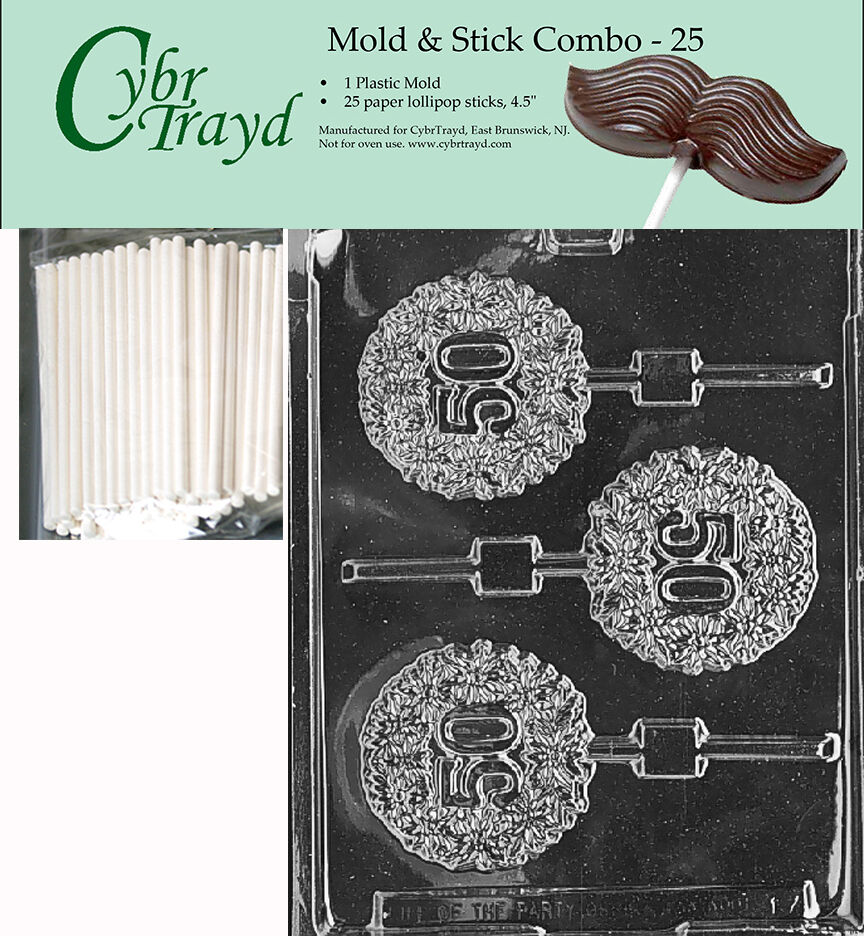 50th fifty lolly chocolate mold w instructions