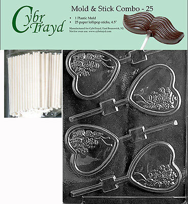 Heart with Bouquet Lolly Chocolate Candy Mold FREE STICKS