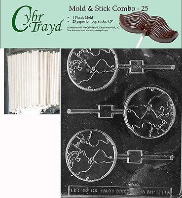 Globe Lolly Chocolate Mold w/Cybrtrayd Instructions FREE STICKS - Chocolate Globes