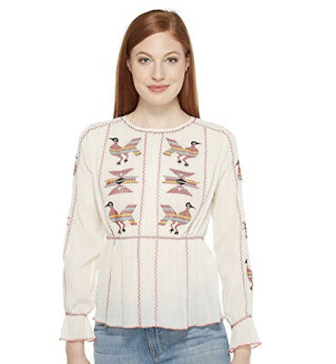 NWT Intropia Embroidered Blouse Size 40 Medium