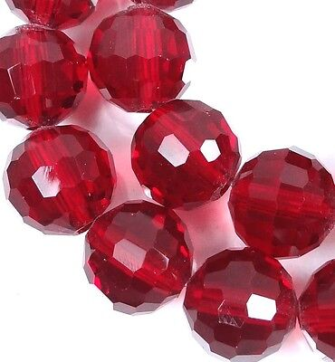 10mm Faceted Ruby Red Glass Quartz Round Beads 12""