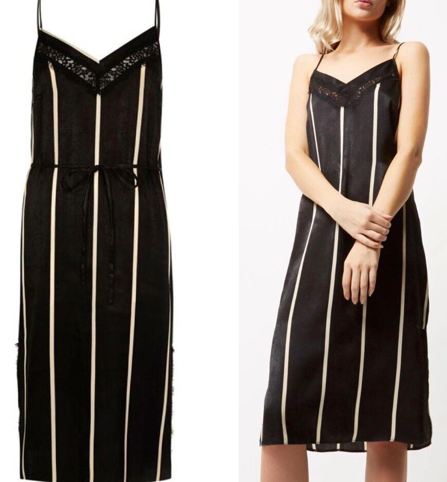 RIVER ISLAND Stripe silky satin Lace Panel Slip Dress SIZE 12