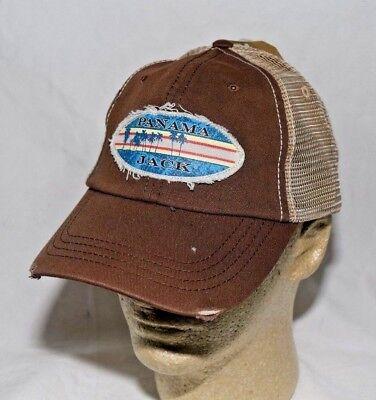 Panama Jack Logo Frayed Baseball Cap Hat  Sport Fishing Brown & Tan Mesh Back - Frayed Logo Cap