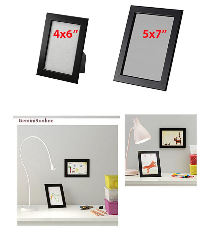 "IKEA Picture Frame FISKBO 1 to 4-Pk Black 4x6"" 5x7"" Wood NEW"