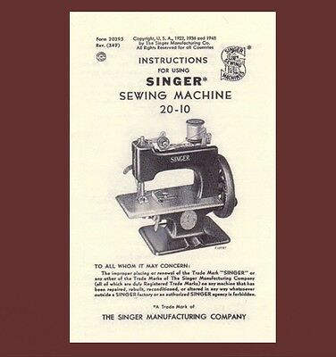Singer 20 toy child sewhandy sewing machine MANUAL INSTRUCTIONS 20-10