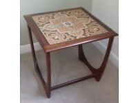 G plan mid century retro vintage coffee side table in teak with tiled top