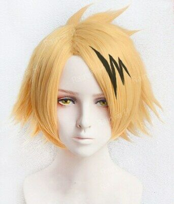Anime My Boku no Hero Academia Kaminari Denki Wigs Cosplay Costume Wig Hairpiece](Heroes Costumes)