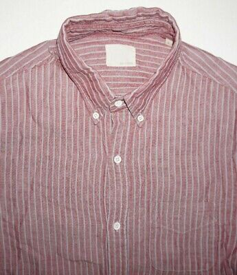 Band of Outsiders Red Gray Striped Oxford Button Down Shirt Sz L Made in USA