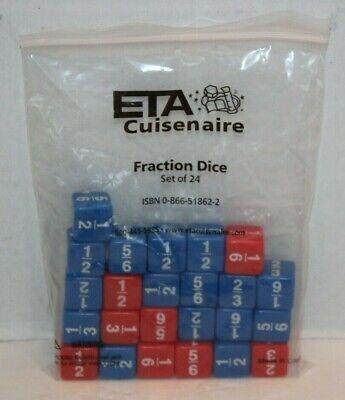 Fraction Dice Set (ETA Cuisenaire Fraction Dice Set of 24 Red & Blue Math Game Set FREE Ship GYR )
