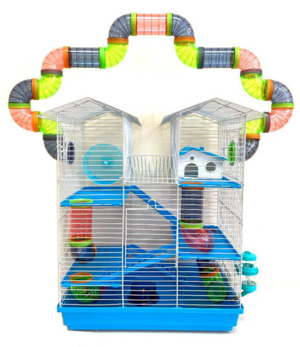Large 5-Levels Twin Tower Syrian Hamster Habitat Mice Rats Cage Crossover Tube