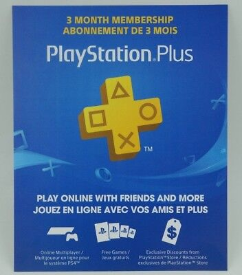 Playstation Plus 3 month Membership Subscription for PS4 PS3 PS Vita