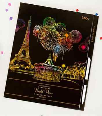 Night View Fireworks Scratch Coloring Book Paris Dubai Moscow Barcelona Budapest