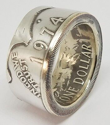 Coin Ring Made From A Real Silver Eisenhower Dollar Coin sizes 9-20