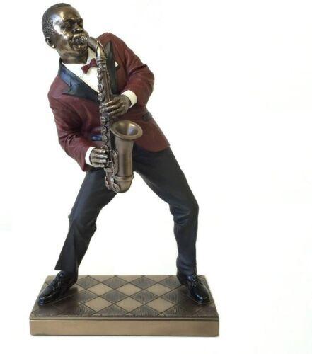 "10.5"" Jazz Band Alto Saxophone Statue African American Sculpture"