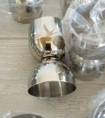 LOT of 4 Grey Goose Metal Shot Glass Bird Logo Stainless Steel