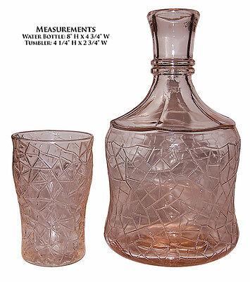 MacBeth Evans Crackle Pink Beverage Set / Tumble Up  / Bottle and 4 Tumblers