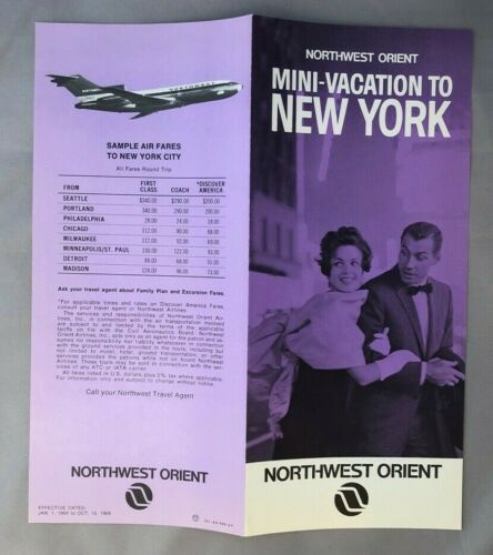 1969 NORTHWEST ORIENT AIRLINES Travel NEW YORK Mini Vacation VINTAGE Brochure