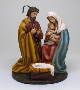 NATIVITY OF JESUS STATUE MARY AND JOSEPH MANGER HOLY NIGHT FIGURINE