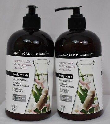 ApotheCARE Coconut Milk White Jasmine Vitamin B3 BODY WASH Lot of 2 16 Oz NEW