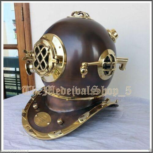Brass Divers Diving Helmet U.S Navy Vintage Style Full Size Antique Nautical
